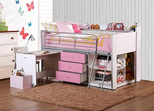 Savannah Loft Bed with Storage and Work Desk (Loft Beds For Kids With Desk compare prices)