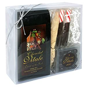 Chocolat Vitale Gift Set, Variety Pack of Hot Chocolate Mix, Chocolate Espresso Beans, and Almond Biscotti