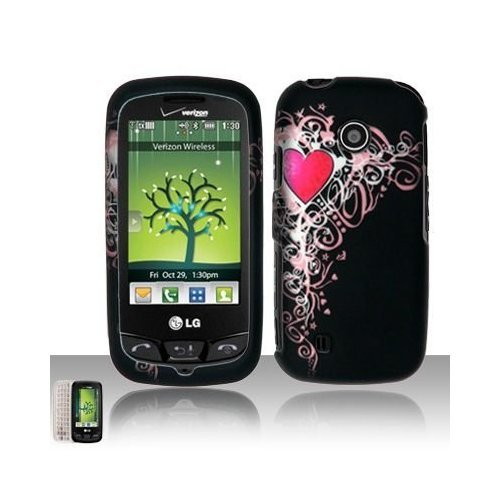 LG Cosmos Touch VN270 Rubber Touch Pink Heart (Celebrate Love) Premium Design Phone Protector Hard Cover Case + Bonus 5.5