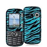 Black n Baby Blue Zebra Design Crystal Hard Skin Case Cover for LG Cosmos V ....