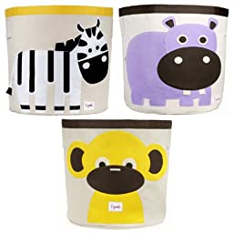 3 Sprouts Storage Bin, 3 Pack - Zebra, Hippo & Monkey