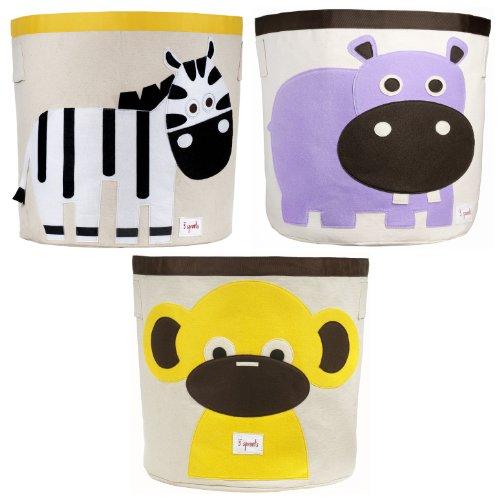 3 Sprouts Storage Bin, 3 Pack - Zebra, Hippo & Monkey - 1