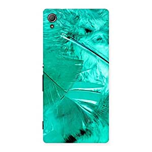 Cute Feather Cyan Back Case Cover for Xperia Z3 Plus