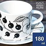 (アラビア)Arabia Black Paratiisi ブラックパラティッシ 64 1180 006674 7+006675 4 cup 180ml+saucer 14cm コーヒーカップ&ソーサー [並行輸入品]