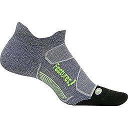 Feetures Elite Max Cushion No Show Tab Socks, Gray/Reflector, (S)