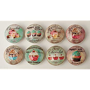 Set of 8 Vintage Cupcake Dresser Drawer Cabinet Knobs