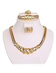 Silver Shoppee Valentine Special Crystal And Cubic Zirconia Studded 18K Yellow Gold Plated Alloy Jewellery Set