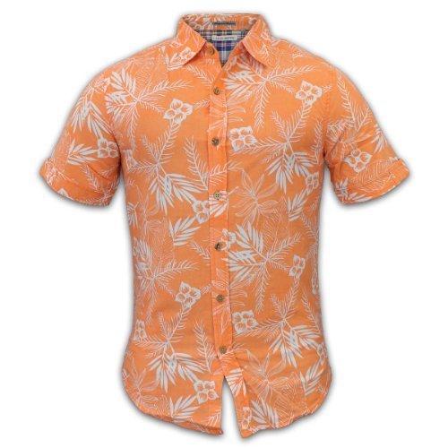 Raging Rooster - Herren Männer Kurzärmeliges Hawaii Insel Muster Hemd - M, Orange