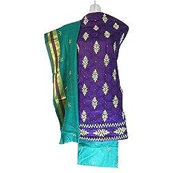 Lattice Embroidered Bandhani Cotton Silk Dress Material Set