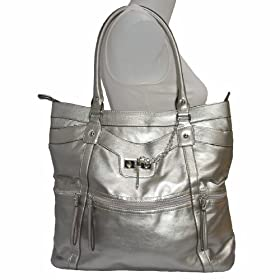 Silver Pewter Tosca Leather Lk Tote Satchel Handbag