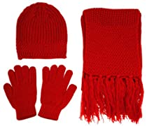 Knitted Winter Set - Beanie, Gloves and Scarf - Unisex Winter Gift Set