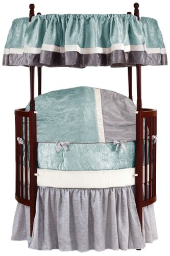 Baby Doll Round Crib Bedding Set, Blue, 8 Piece