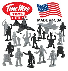 TimMee Galaxy Laser Team Reissue: 50 Piece Set of 2 inch Space Hero and Monster Toy Figures - Made in the USA !