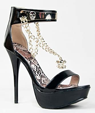 Amazon.com: Qupid DAZZLING-104 Skull Chain Metal Ankle Strap Platform High Heel Stiletto Sandal: Shoes