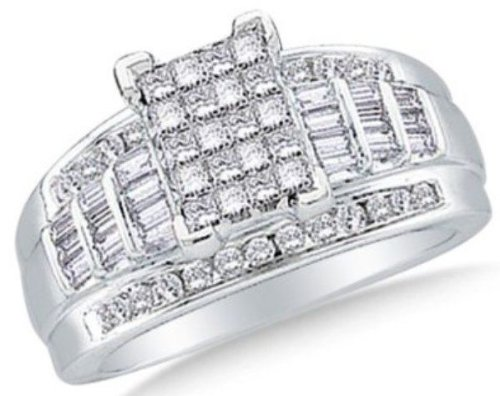 Price Comparisons 0.5 cttw 10k White Gold Round Baguette and Princess Cut Diamond Engagement Ring (Sizes 3-11)