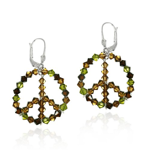 Sterling Silver Swarovski Elements Earth-Colored Circle with Bronze Peace Sign Center Leverback Earrings
