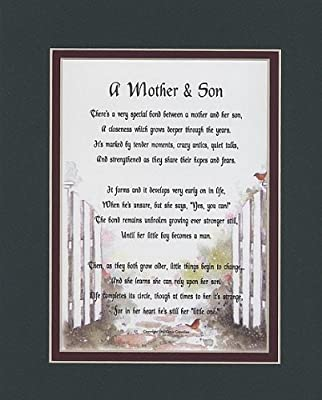 A Mother & Son Touching 8x10 Poem, Double-matted in Dark Green Over Burgundy And Enhanced With Watercolor Graphics. A Gift For A Mother, Son Or A New Mother.