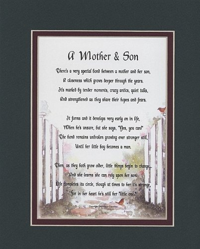 A Mother &amp; Son Touching 8x10 Poem, Double-matted in Dark Green Over Burgundy And Enhanced With Watercolor Graphics. A Gift For A Mother, Son Or A New Mother.