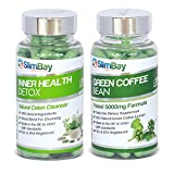 Healthy Colon Cleanser and Green Coffee Diet Pills Bundle - 100% MONEY BACK GUARANTEE - Diet Pills, Weight Loss Pills, Slimming Pills GO GREEN Super Combo - Lose Weight and Feel Great. Large 180 Capsules Supply (90 Per Bottle).