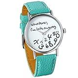 "JewelryWe Unisex Female Women Ladies Girls ""Whatever, I'm late anyway"" Love Gift Leather Strap Watches Quartz Wrist Watch (Green)"