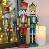 Sterling 12 Red and Green Wooden Nutcrackers with Glitter, Set Of 2