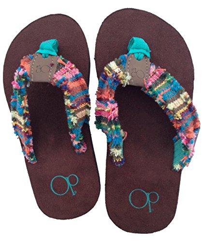 op-multi-striped-fabric-thong-flip-flop-beach-sandals-girls-size-11-12