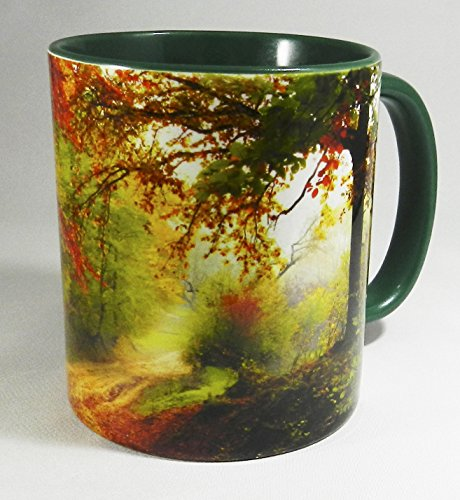 Autumnal Country Path Mug with green glazed inner and handle