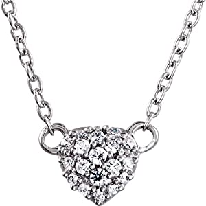 Genuine IceCarats Designer Jewelry Gift Sterling Silver Cubic Zirconia Heart Necklace. 18 Inch Cubic Zirconia Heart Necklace In Sterling Silver