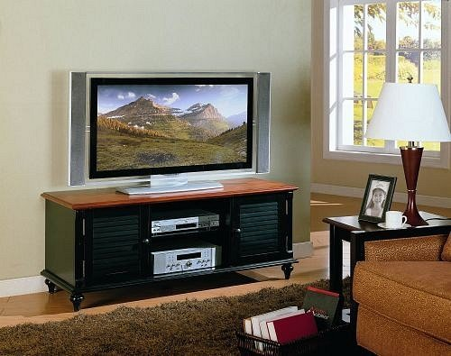 Cheap All new item Black finish wood and oak top TV / Plasma / LCD stand entertainment center (AMB F4415)