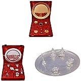 Gold Plated GL Pooja Thali Set,Silver Plated Royal Pooja Thali Set With Ganesh Laksmi And Silver Plated Ganesh... - B01FZBBWCS