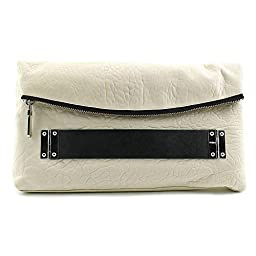 Vince Camuto Essy Clutch, Snow White/Black, One Size