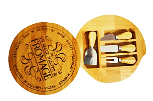 Wooden Cheese Board and Knife Set - FROMAGE