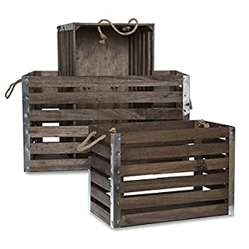 The Lucky Clover Trading Wood Crate with Rope Handles Metal Corners, Antique Brown, Set of 3