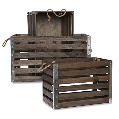 The Lucky Clover Trading Wood Crate with Rope Handles Metal Corners, Antique Brown, Set of 3 0