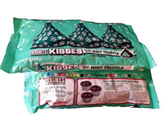Holiday Hershey's Kisses Dark Chocolate with Mint Truffle, 10-Ounce Bag (Pack of 2)