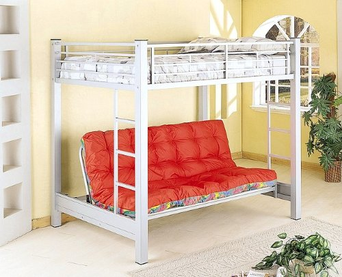 Silver Finish Metal Full Size Bunk Bed with Futon