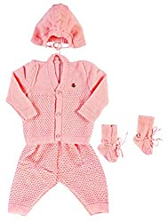 Woollen Sweater Full Suit (0-6 Months) (Pink)