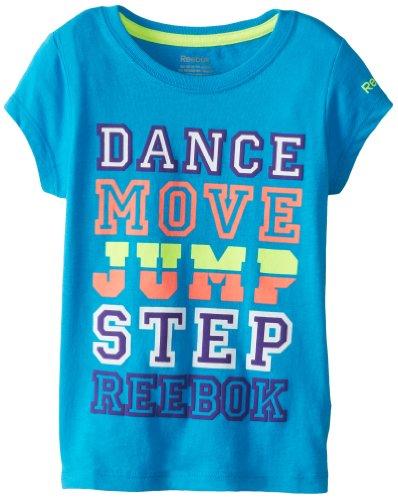 Reebok Little Girls' Short Sleeve Dance Move Jump Graphic Tee, Turquoise, Medium front-790992