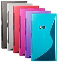 The Friendly Swede (TM) Bundle of 6 Premium Flexible S-Line TPU Skins/Cases/Covers for Nokia Lumia 920 + 2 Screen Protectors + Cleaning Cloth in Retail Packaging