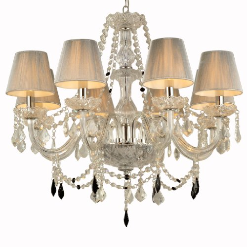 Unitary™ Vintage Fabric Shade Crystal Chandelier Max 320W With 8 Lights Chrome Finish