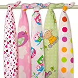 -Juego de cuadros de baño de franela suave 100% algodón para bebé (80x 70cm emmaillotez bebé en su protectora. Talla:5 x Beaux Hiboux & Points