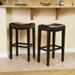Jaeden Backless Brown Leather Bar Stools (Set of 2)