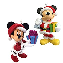 Mickey Mouse and Minnie Mouse Santa Disney Christmas...