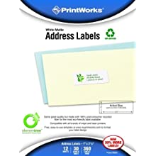 Printworks Elementree White Matte Address Labels for Inkjet or Laser Printers or Copiers, 100% Recycled, 12 Sheets/Pack, 1 inch x 2.625 inch, 00487