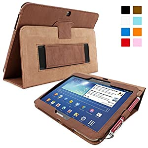 Snugg Galaxy Tab 3 10.1 Case - Smart Cover with Flip Stand & Lifetime Guarantee ('Distressed' Brown Leather) for Galaxy Tab 3 10.1