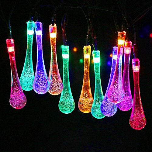 Solar Outdoor Strings Lights, Arespark 20ft 30 LED Water Drop Solar Fairy Lights, Waterproof Christmas Lights for Garden, Patio, Yard, Home, Parties- Multi-Color