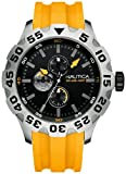 Nautica Men's BFD 100 Multi N15566G Yellow Resin Quartz Watch with Black Dial