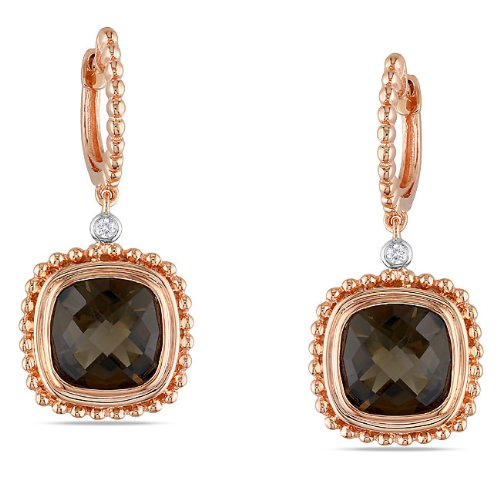 Sterling Silver, Pink Rhodium Plated, Diamond and Smokey Quartz Earrings, (.04 cttw, GH Color, I2-I3 Clarity)