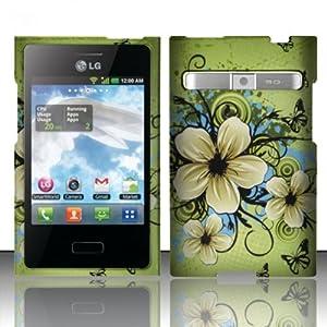 For LG Optimus Logic L35g / Dynamic L38c (StraightTalk/Net 10) Rubberized Design Snap-on Protector Hard Cover Case - Hawaiian Flowers