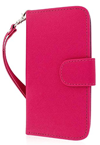 Mylife Deep Magenta And Navy Blue {Classic Fashion Design} Faux Leather (Card, Cash And Id Holder + Magnetic Closing) Slim Wallet For The All-New Htc One M8 Android Smartphone - Aka, 2Nd Gen Htc One (External Textured Synthetic Leather With Magnetic Clip